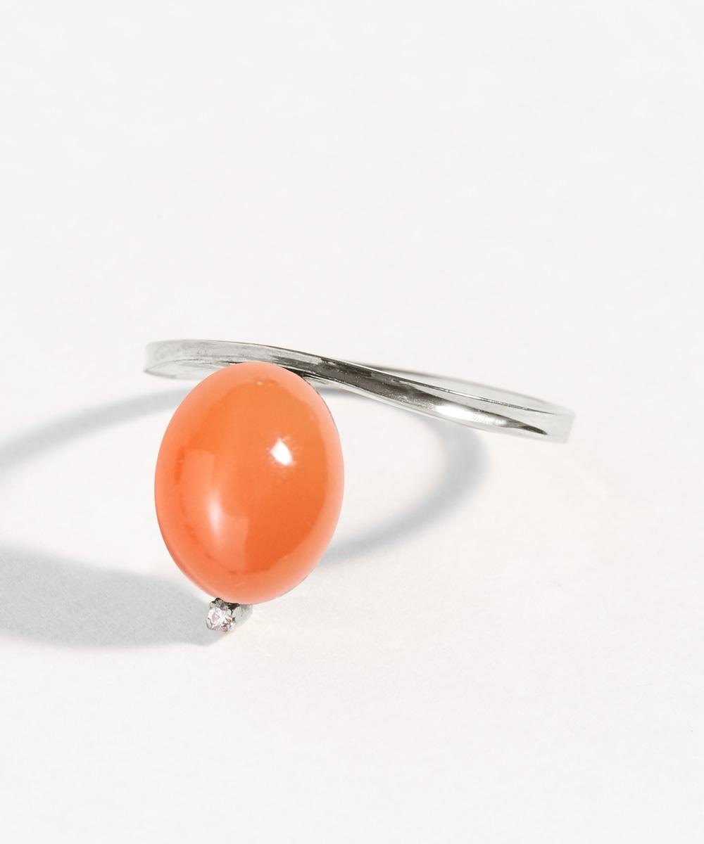 【オレンジムーンストーン】ロジウムcoat  floatingリング