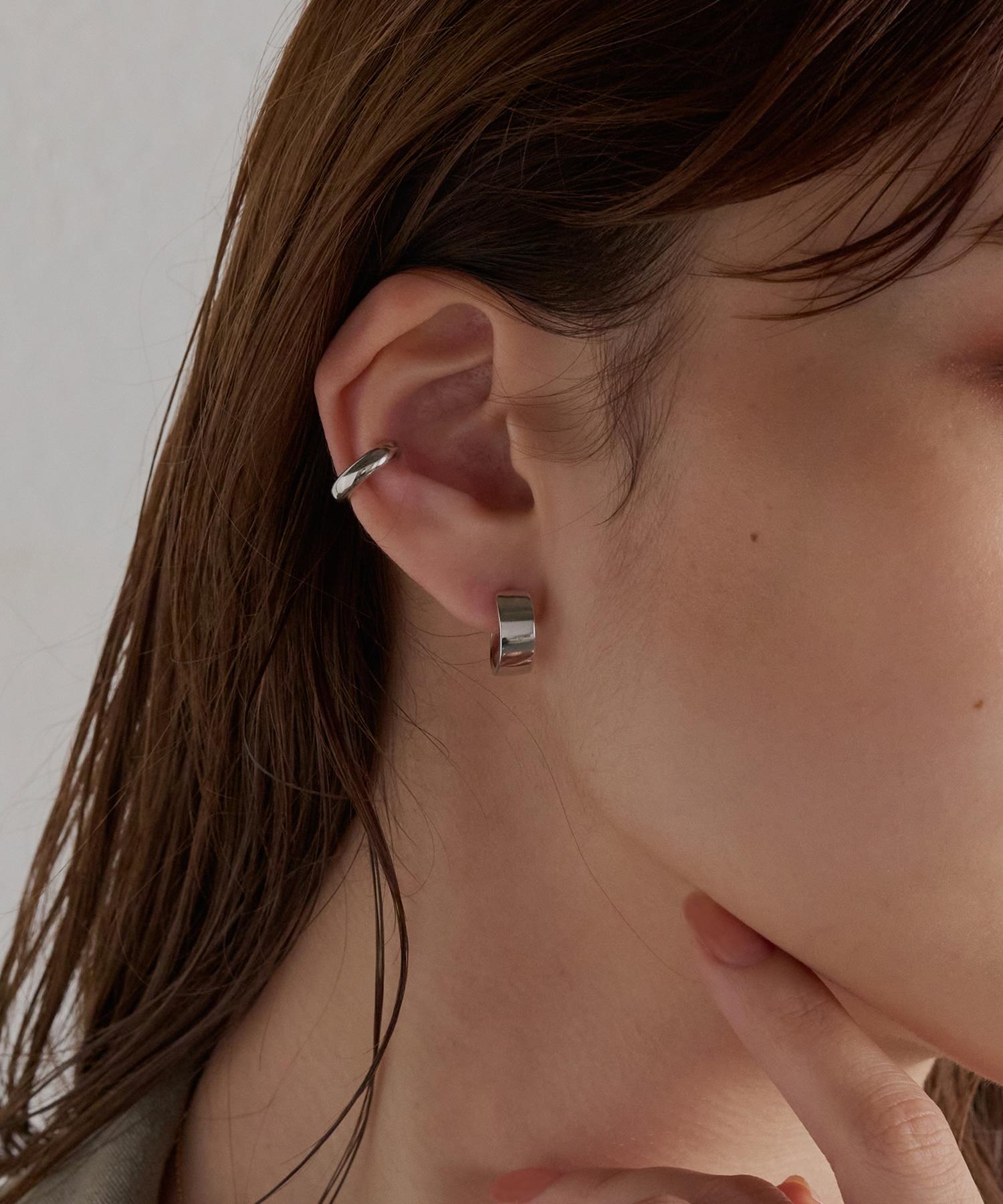stylish silver hoopピアス&イヤカフ