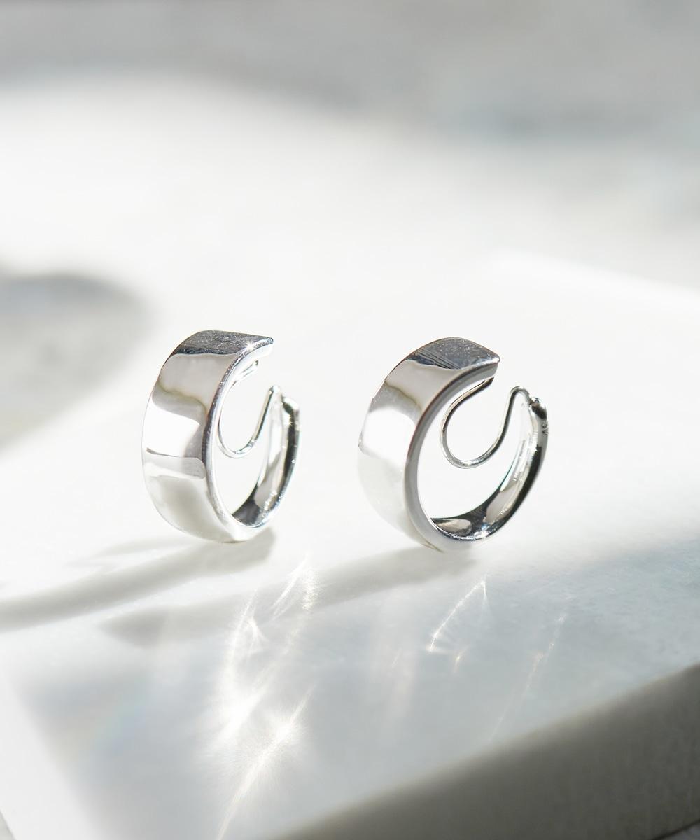 stylish silver hoopイヤリング