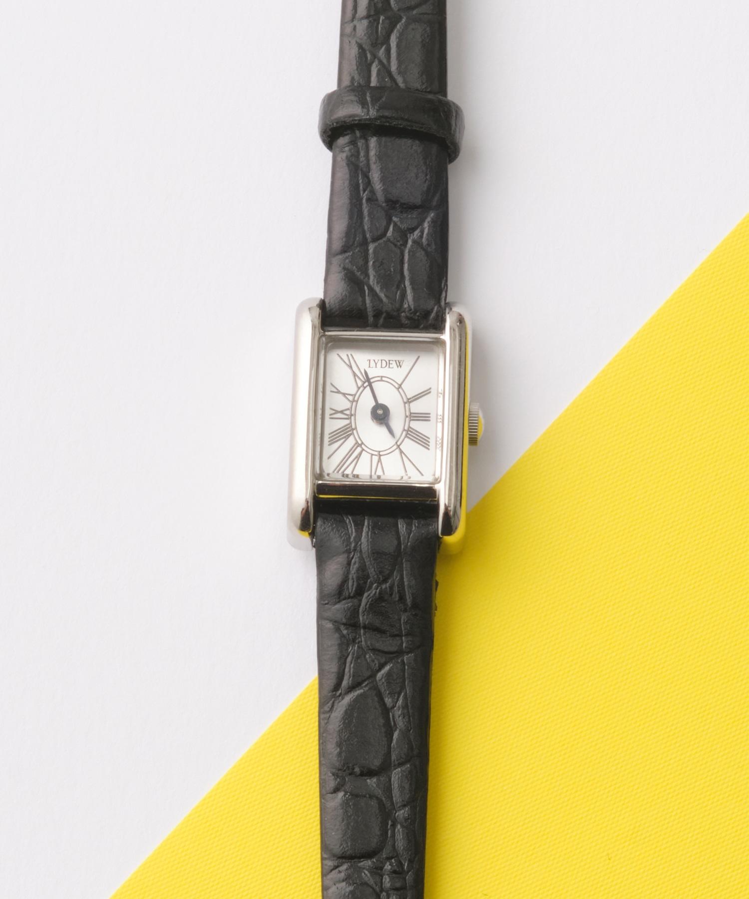silver lafayetteウォッチ(ブラックレザークロコ型押し)
