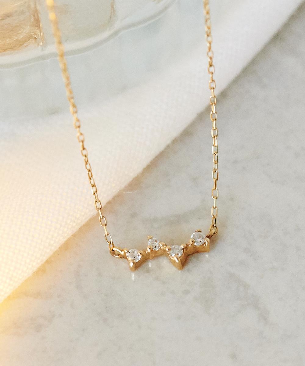 【K10】スパークルダイヤモンドネックレス