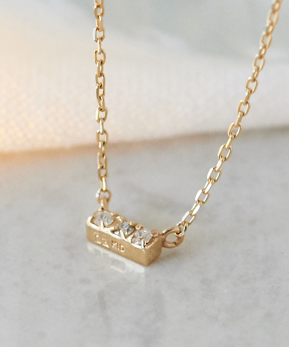 【K10】スリーダイヤモンドネックレス