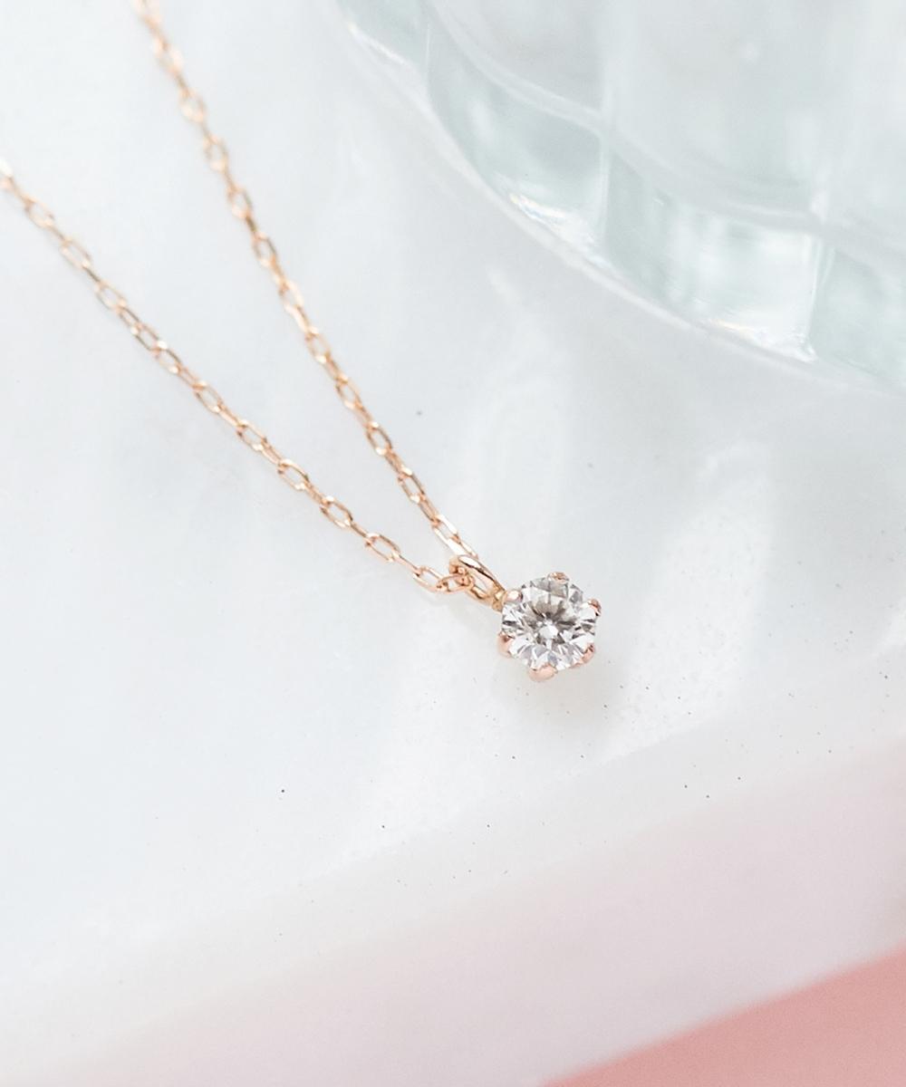 【K10RG】グラインダイヤモンドネックレス