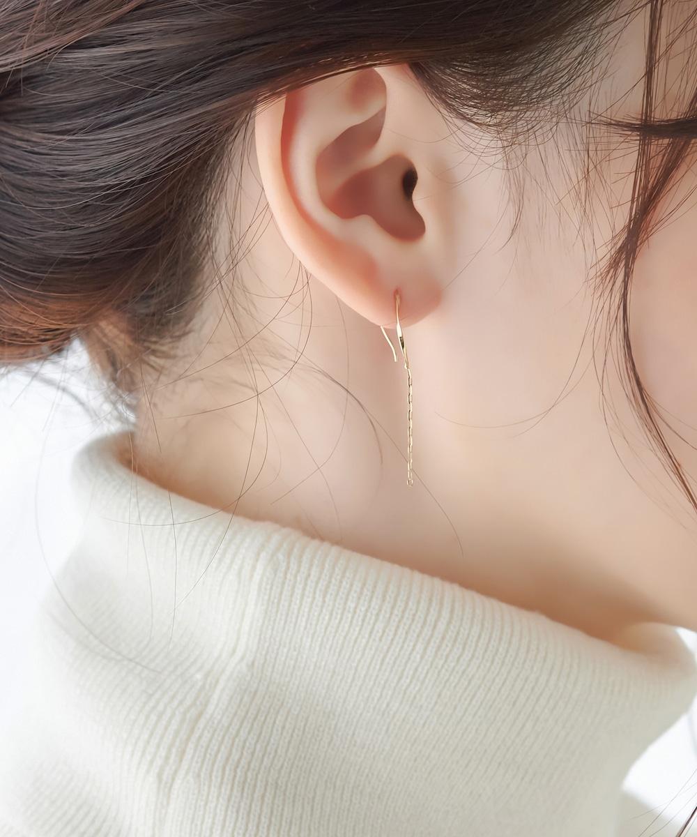 【K10】エフォートレスチェーン2wayピアス&イヤリング