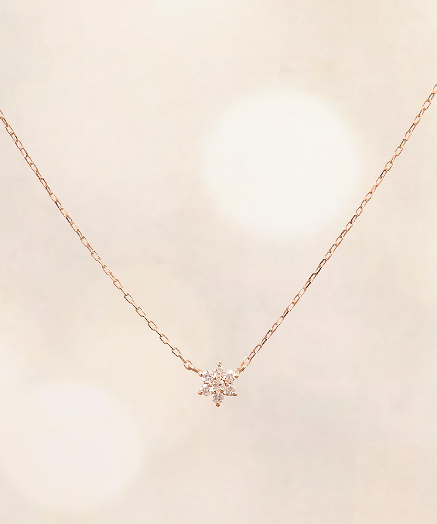 【K10RG】セブンスターダイヤモンドネックレス