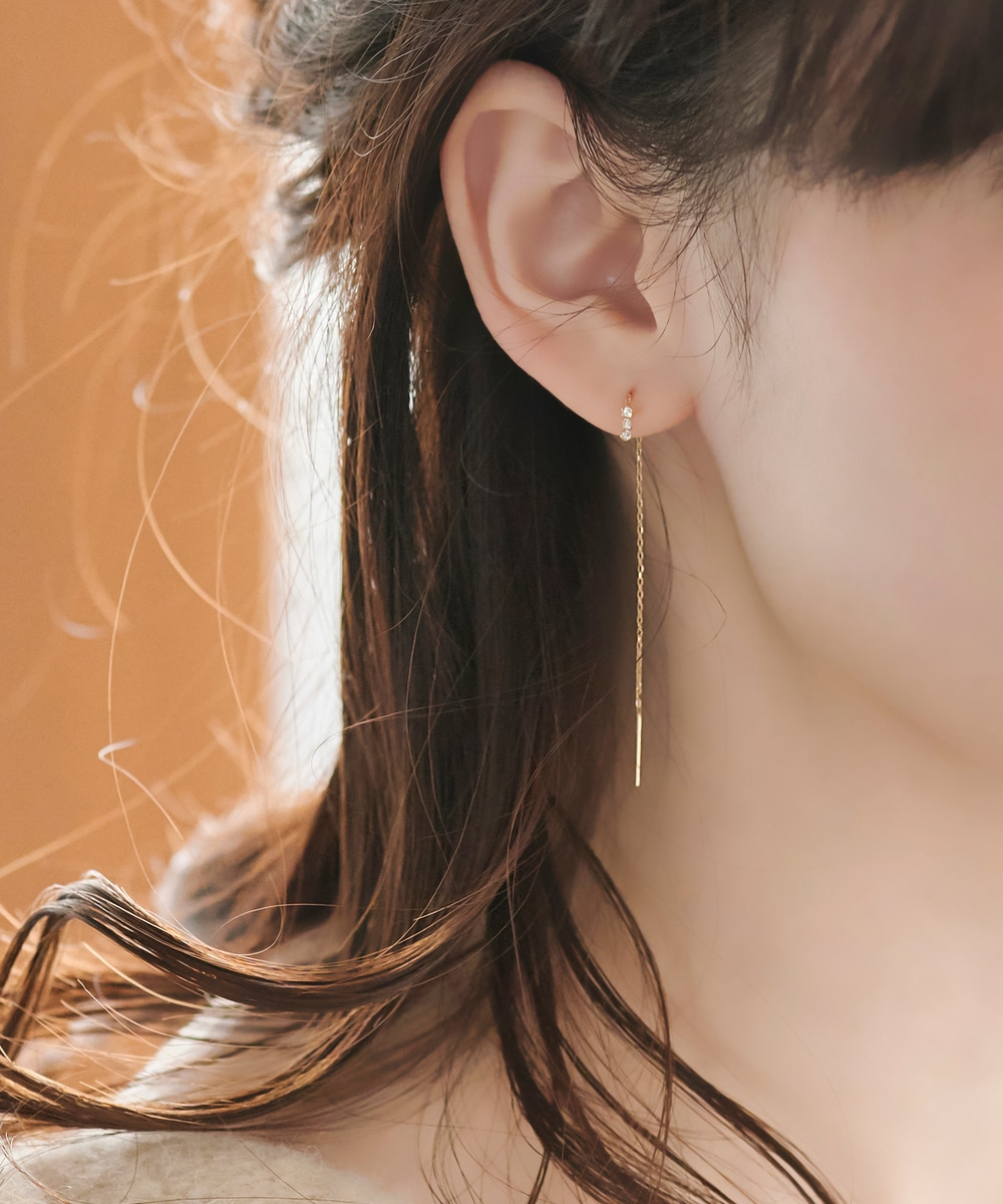 【K10】スウィングビジューアメリカンピアス