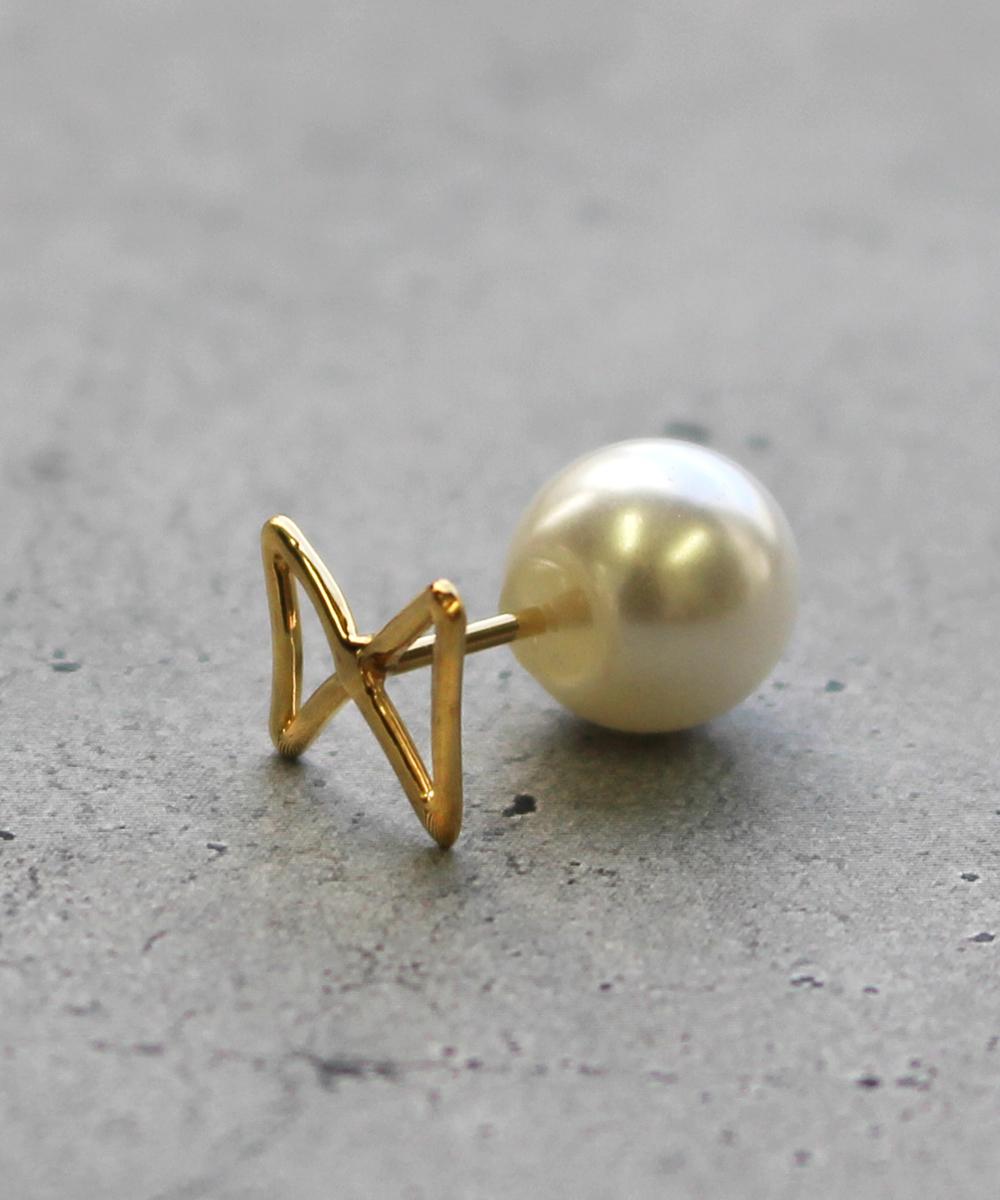 【予約】【片耳】ribbon Sピアス gold