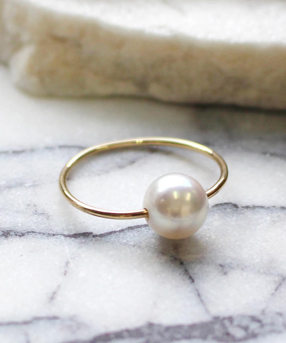 spotリング(white,akoya pearl)