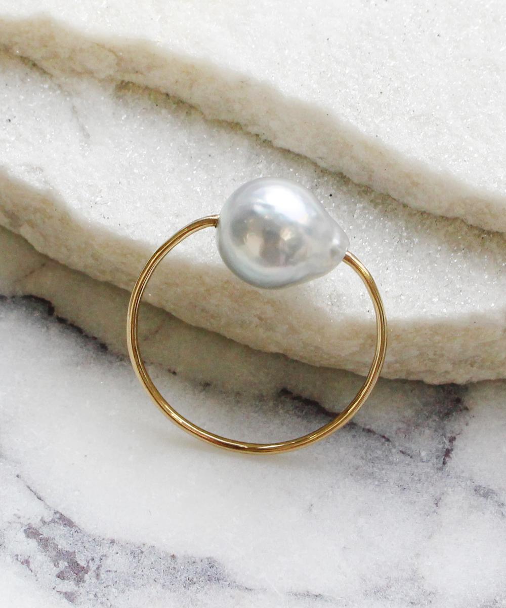 spotリング(gray,akoya pearl)