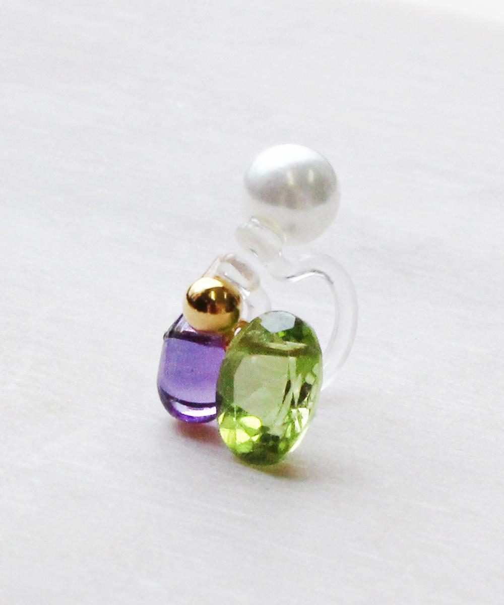 【K14GF】Peridot,Amethysイヤリング(片耳)