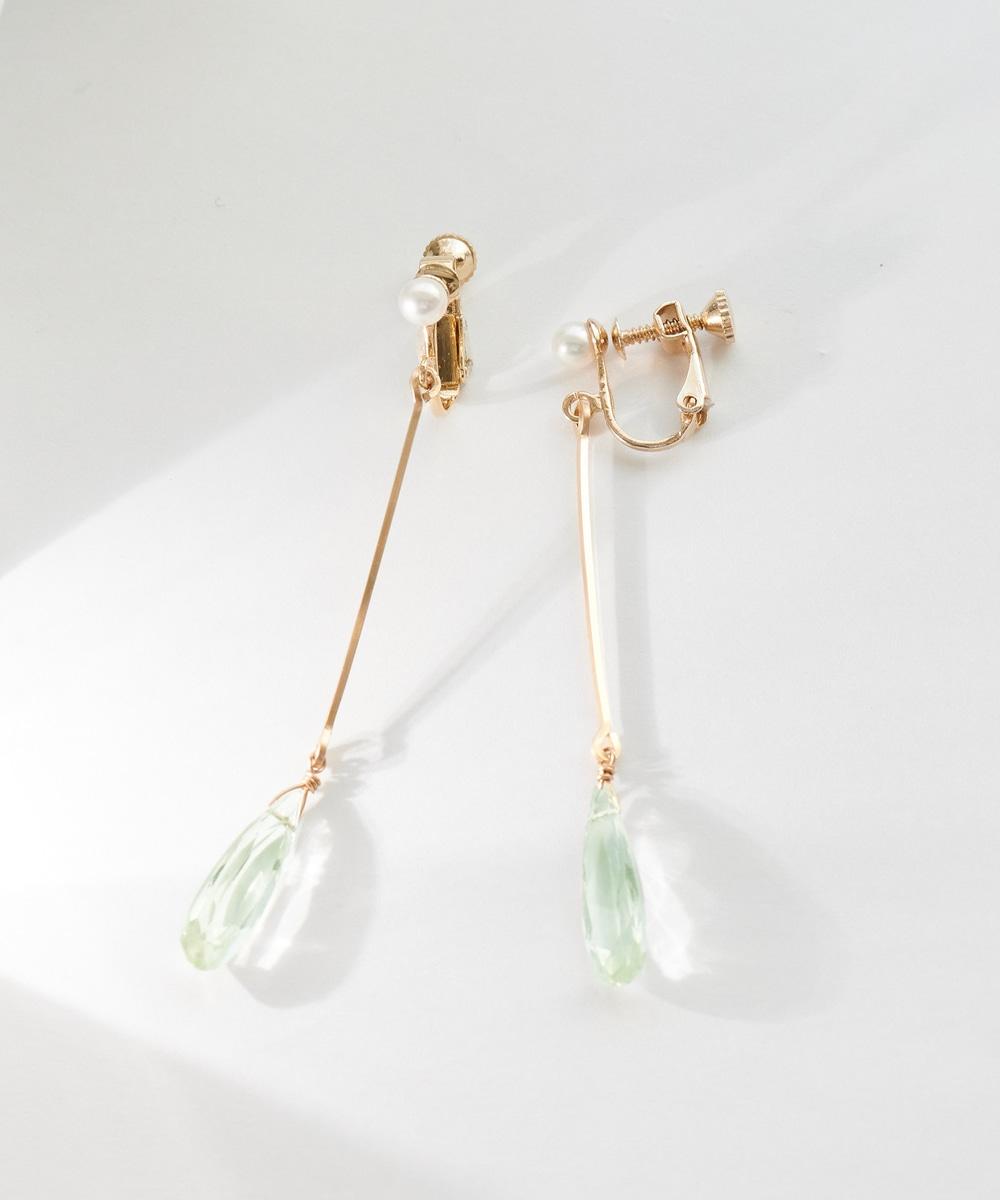 【K14GF】Green Amethystイヤリング
